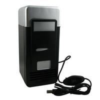 Wholesale Black color New Mini USB Fridge Cooler Gadget Beverage Drink Cans Cooler Warmer Refrigerator
