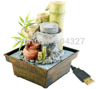 bamboo water fountains - Piece USB Gadget Table Fountain Bamboo Fountain USB Zen Garde Millstone Flowing Water