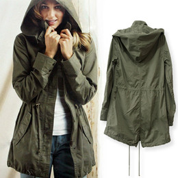 Wholesale-Plus Size New Women Autumn Winter Hot Sale 2015 Loose Long Sleeve Army Green Jacket Ladies Casual Hoodies Coat Drop Shipping
