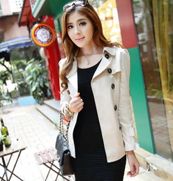 Wholesale-Top Fashion Double Breasted Slim Fit Short Trench Coats For Woman Autumn 2015 European Style Peacoat Suits