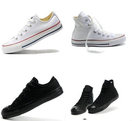 Altos tops hombres 45 en Línea-Al por mayor-todo el tamaño 13 colores Classic High / Low Tops para los hombres y de las mujeres ocasionales de los zapatos de deporte de la lona de las zapatillas de deporte planas Tamaño 35-45