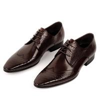 al por mayor zapatos al por mayor vestidos de la moda-En-Venta al por mayor 2 colores 2015 Nueva Moda Marca Diseñador italiano formal Oxford cuero genuino de impresión para hombre vestido de las zapatillas de deporte zapatos para hombres MGS472