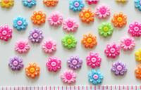Cheap Wholesale-220pcs Flatback Cute Polka Dot flower Cabs 18mm DIY , scrapbook, hair bow and flower centers, embellishment sunflower resin