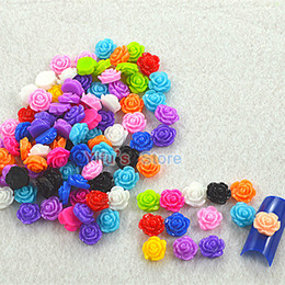 Wholesale-100pcs* New Arrival Popular Rose Resin Flower 3D Nail Art Charm Decoration Fashion Style Free Shipping NRRmix