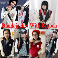 blank baseball jacket - Vintage Autunm Korean Unisex Blank Varsity Jacket Long Sleeve Plain Baseball Coat Blue Brooch as gift M XXL Sportwear