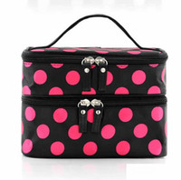 Wholesale Colors Korea Style Double Layered Dot Women Zipper Cosmetic Case Bag Makeup Purse Bag In Bag Organizer HZ