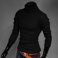 uyuk - High quality men sweater brand long sleeve Uyuk turn down collar pullover sweater solid color slim thickening turtleneck