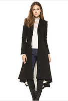 Wholesale victorian fashion women slim maxi wool trench coat with dovetail hem and wrap front for and haoduoyi