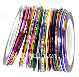 Wholesale-Free Shipping 30pcs Random Mix Color Rolls Striping Tape Metallic Yarn Line NailArt Decoration multicolor striping line DIY