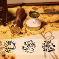 Wholesale DIY Wooden Metal Sealing Sax Stamps Vintage Retro Romantic Love Thank You Miss you Good Luck For you Stamp