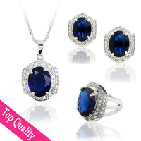 platinum - Dark Blue Jewelry Sets Top Quality Big CZ Crystal Square Platinum Plated Ring Earrings Necklace Pendant Luxurous Women Wedding