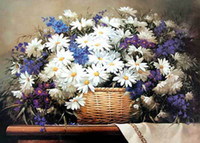 wall hanging tapestry - still life gobelin tapestries for furniture decoration picture a basket of daisy size x57cm Wall hanging picture