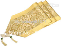 table runner - Chinese Knot Yellow Damask Decorative Table Runners Wedding Reception Long Table Cloth High End Bed Runner size L200 x W cm p