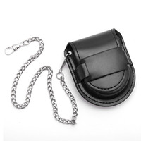 Cheap Wholesale-New Fashion Pocket Watch Box leather Black Chain Watches Holder Storage Case Boxes Coin Purse Pouch Bag Hot