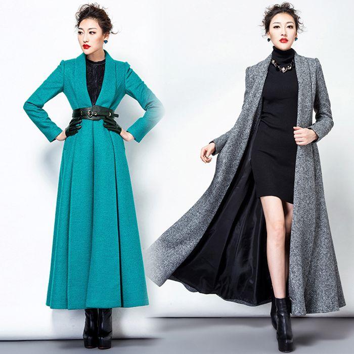 Wholesale-TWODS Women's X Long Wool Winter Coats Woollen Overcoat ...