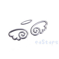 Cheap Wholesale-3D Silver Round Angel Wing Styling SUV Truck Car Auto Bumper Sticker Emblem Paster Decal