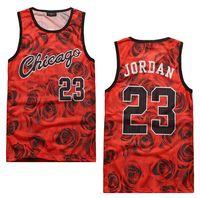 chicago - New men s summer tank tops D print rose floral Chicago Jordan basketball vest fit slim jersey sleeveless tee shirts