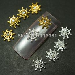 Wholesale-20pcs Lot Mix Silver Golden (Each 10pcs) Ship Wheel Clear Crystal Rhinestones 3D Alloy Nail Art Craft Cover Case DIY Design Deco