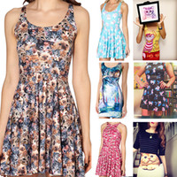 Wholesale New Black Milk Crazy Cat Dress Lady Skater Dress for Women Fashion Women s Black Milk Girl Dress