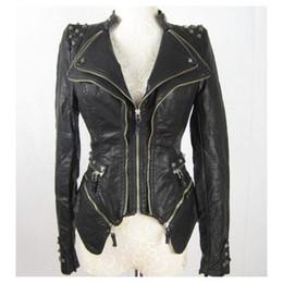 Оптово-новых женщин Punk Spike шипованных Плечо кожаной куртки PU молния пальто размер S XL