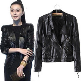 Wholesale-Spring 2015 New Arrival Female Angel Wings PU Leather Slim Fit Women Zipper Short Jacket Coat leather jacket women SY0092