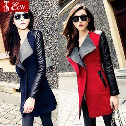 Wholesale-womens jacket Spring Autumn Fashion 2015 jacket for womans Woolen coat Genuine leather PU stitching long sleeve jacket big size