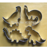animal cutters - Stainless Steel Silver Dinosaur Animal Baking Fondant Biscuit Cookie Cutter Tool Set