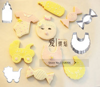 Cheap Wholesale-6pcs lot baby carriage&Feeding bottle&baby clothes&candy cookies mold biscuit cutter cookies cutting tools