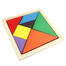 Wholesale Rainbow Color Wooden Tangram Pieces Jigsaw Puzzle Educational Toy for Children