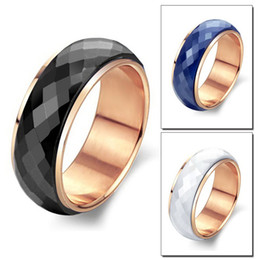 Wholesale 2015 Top Fashion Promotion Rings Maikun Jewelry Black white blue Ceramic Rose Gold Plated Ring Titanium Steel Single Tail