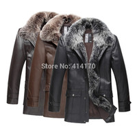 100% leather jackets - Winter down coat jacket Mens Genuine Leather Down jacket With fox fur Collar overcoat outerwear Coats men fur Dropship