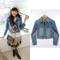 Cheap Wholesale-Korean style women's clothing tide female vintage washed Scratched Ripped short small coat Bleached denim jacket