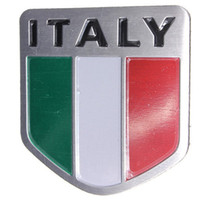 Cheap Wholesale-Alloy Metal Auto Racing Sports Emblem Badge Decal Sticker For Italy Italian Flag FREE SHIPPING