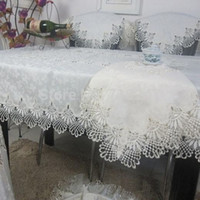 lace tablecloth - Hot Sale Elegant Polyester Lace Tablecloth For Wedding Party Home Daily Lace Satin Table Linen Cloth Cover Textile Decor