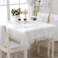 lace tablecloth - Hot Sale cm Elegant Polyester Lace Tablecloth Wedding Party Covers Delicate Quality Table Cloth Towel Overlay Home Decors