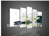 Cheap 5 Panel Wall Art No Framed Modern Abstract Acrylic Flower Black & And White Lily Oil Painting On Canvas Modern Prints Picture