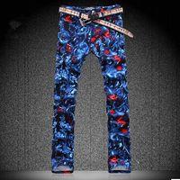 Wholesale New Arrived Men Fashion Mens large size Designer Print skinny Jeans Denim plus size Pants HG501 mens designer jeans brands cheap