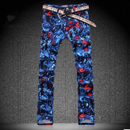 New Arrived Men Fashion Mens large size Designer Print skinny Jeans Denim plus size Pants HG501 mens designer jeans brands cheap