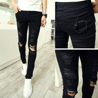skinny jeans for men - Autumn New Personality Knee Holes Jeans for Men Slim Fit White and Black Skinny Jeans Men Fashion Designer Denim Pants