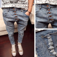 new style man jeans - Torn Jeans Buttons Drop Crotch Pants Men Spring New Fashion Trend Harem Trousers Kpop Casual British Style Slim perfume men
