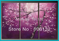 flower picture frame - Framed Panel Huge High End Stunning Piece Canvas Wall Art Purple Cherry Blossom Oil Painting Flower Picture Wall Decor A0590
