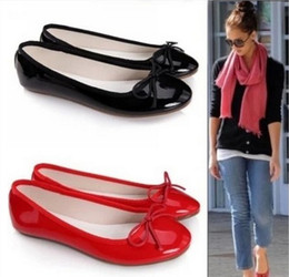 Wholesale women flats new ballerina flats patent leather in women s Sapatilhas ballet flats amp black red size