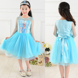 Wholesale girls dress girl Elsa Dresses Elsa costume new princess lace blue party casual summer dress baby amp kids clothing