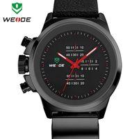 Cheap 3ATM new genuine soft leather watchband WEIDE watch men brand famous original Japan Miyota 2035 quartz movement 1 year guarantee