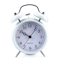 Cheap Wholesale-High quality Morden Design Ring Bell Alarm Clock Table Desk Clock White