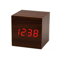activate mechanical - New Stylish Vioce amp Touch Activated Cube Brown Wooden Clock Red LED Imitation Digital Alarm Clocks w Thermometer Date Display