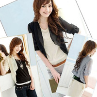 Wholesale Womens Ladies Fashion Chiffon Sheer Shrug Cardigan Tops Blouse Bolero Brand New free shiping