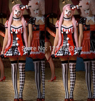 Wholesale Harley Quinn Fantasia Halloween Costumes Inlucing Dress Gloves and Headwear For Women Elegant appearance toycity hotselling