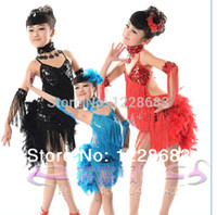 Wholesale New Children Kids Sequin Feather Fringe Stage Performance Competition Ballroom Dance Costume Latin Dance Dress For Girlstoycity
