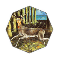 portrait background - Hot Sale Frida Kahlo Self portrait Painting Background Printed Triple Folding Portable Rain Sun Umbrella